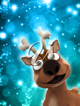 Christmas reindeer on a sparkly lights background