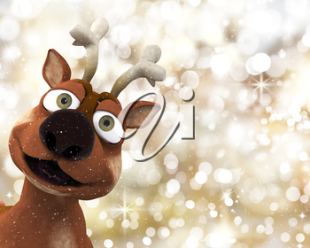 Reindeer on a Christmas background of golden bokeh lights