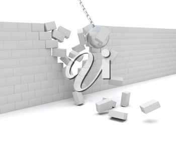 3D Render of a Wrecking ball demolishing a wall