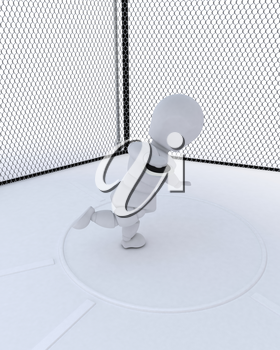 3D render of  man throwing a discus