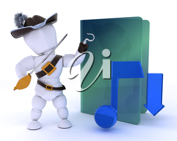 3D render of a pirate depicting illegal music downloads