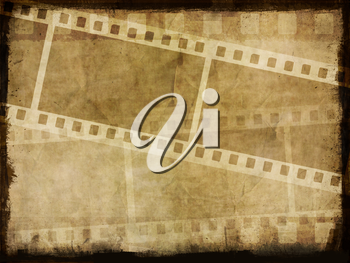 Dirty grunge background with image of film strips