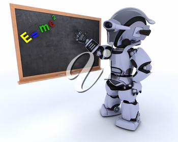3D render of a Robot with school chalk board