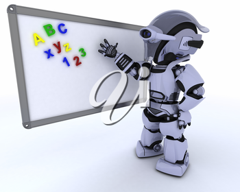 3D render of a Robot with White class room drywipe marker board