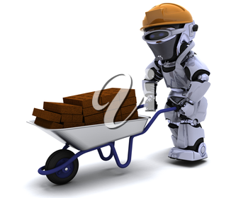 3D render of a robot Builder with a wheel barrow carrying bricks