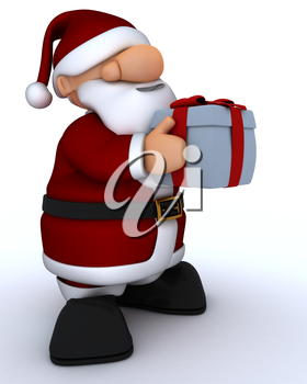 3D Render of a Cute Santa Claus Charicature