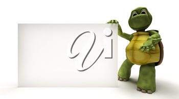 3D Render of a Tortoise with a blank white sign