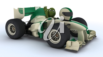 3D render of a tortoise with race car