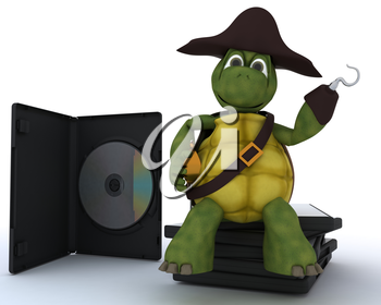 3D render of a Pirate Tortoise with DVD CD and Software