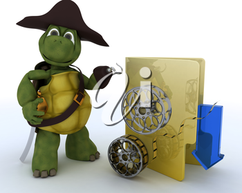 3D render of a Pirate Tortoise depicting illegal movie downloads