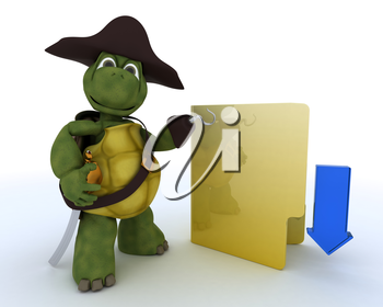 3D render of a Pirate Tortoise depicting illegal downloads