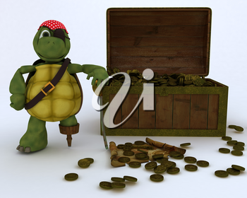 3D render of tortoise pirate with a treasure chest