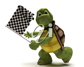 3D Render of a Tortoise with a chequered flag