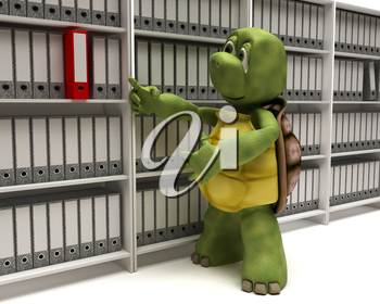 3D Render of a Tortoise filing documents