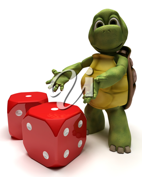 3D Render of a Tortoise with dice