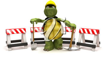 3D render of a tortoise with a  spade and pick axe with hazard barriers