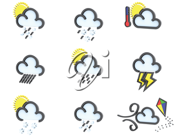 3D render of weather icons set 2