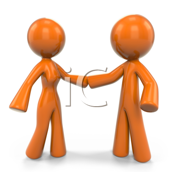 Royalty Free Clipart Image of an Orange Woman and Man Holding Hands