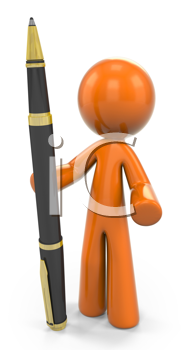 Royalty Free Clipart Image of an Orange Guy Standing Beside a Pen
