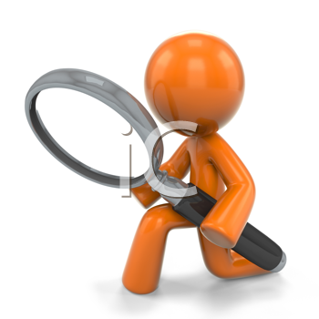 Royalty Free Clipart Image of an Orange Man With a Magnifying Glass