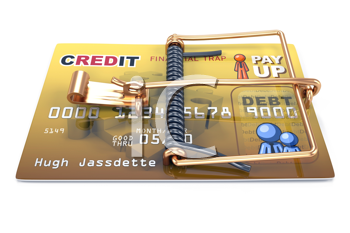 Royalty Free Clipart Image of a Credit Card Trap