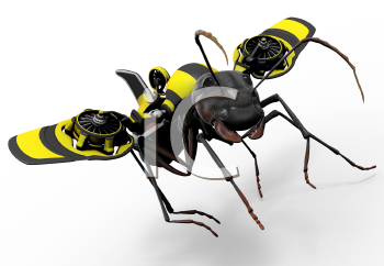 Royalty Free Clipart Image of a worker ant with a wasp styled flying mechanism.