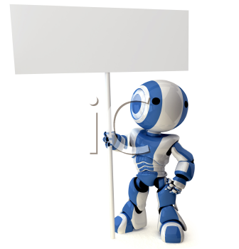 A glossy robot standing holding a sign. Area on sign left blank for your own design.