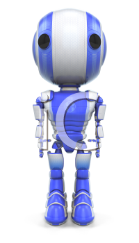 A robot standing straight up and looking forward at the viewer.