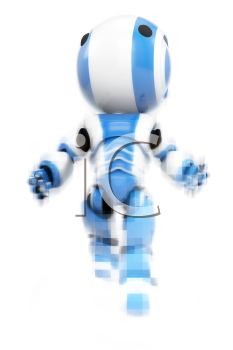 A blue robot emerging from pixels, showing his digital origins.