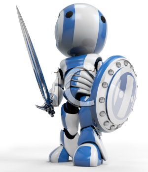A blue robot holding a sword and Shield. a symbol of technological purity and excellence. Good concept for antivirus, bot software, and just fun!