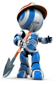 A working class robot holding a shovel. He is motioning to the right, perhaps giving an order.