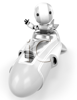 A robot in a hover rocket waving at the viewer viewed from the front.