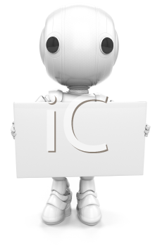 A robot holding a sign. Or it could be a business card if you consider his scale to be small!