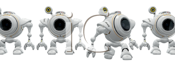 Royalty Free Clipart Image of a robot web cam emerging from a product line appearing newly alive and curious.