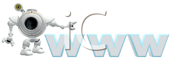 Royalty Free Clipart Image of a robot web cam motioning to a WWW so as to advertize a website.