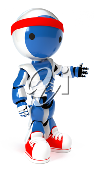 Royalty Free Clipart Image of a Blue Robot with Red Shoes and Headband