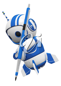 Royalty Free Clipart Image of a Robot Holding a Technical Pencil