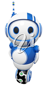 Royalty Free Clipart Image of a Robot on a Uniwheel