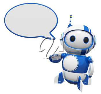 Royalty Free Clipart Image of a Robot with a Word Bubble