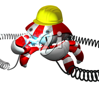 Royalty Free Clipart Image of a Robot Crab Holding Electric Cables