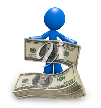 Royalty Free Clipart Image of a Blue Man With a Stack of Money