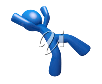 Royalty Free Clipart Image of a Blue Man Falling