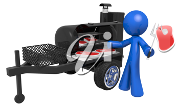 Royalty Free Clipart Image of a Blue Man Barbecuing Steaks