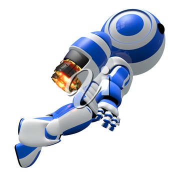 Robot rocketeer with a jet pack flying upward to new horizons.