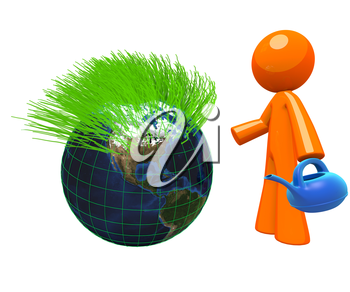 3d Orange Man with a plastic blue watering can, standing beside a globe with grass shooting from the top of it. A nice concept in earth care, green earth, conservation, and maintenance as well as gard