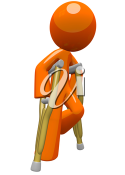 An orange man with crutches, moving about and finding his way. He is still a little challenged with his break and fractures, but still on the way to recovery! Use this image for medical purposes and a