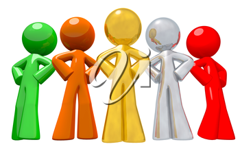 Multi-colored array of team works standing confidently in a group. A fresh concept in multi-racial work places and unity.