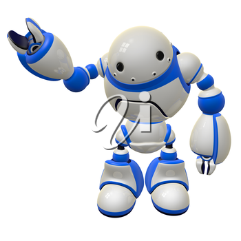 Software security concept robot waving and happy. Right arm raised.