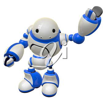 Software security concept robot waving and happy. Left Arm Raised.