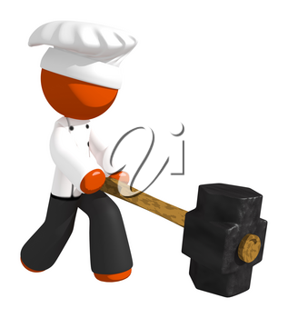 Orange Man Chef Hitting With Sledge Hammer